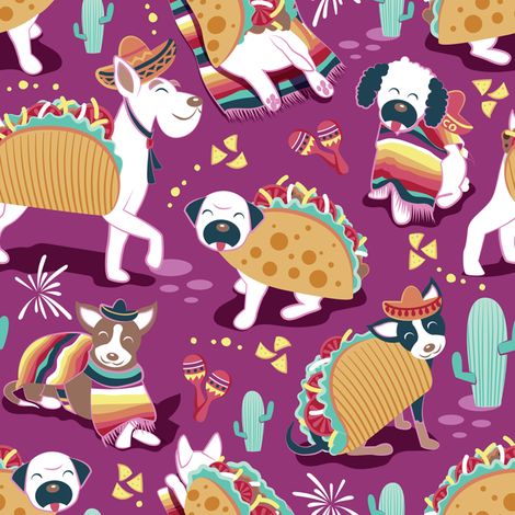 Mexican tacos dogs team // small scale // dark pink fabric by selmacardoso on Spoonflower - custom fabric