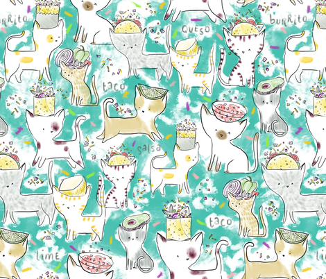 Tacos + Burritos - © Lucinda Wei fabric by lucindawei on Spoonflower - custom fabric