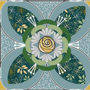 Quilt Square Tile, Yellow, Blue, Green Rose and Leaves Quatrefoil