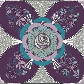 Purple and Teal Tile Quilt Square, Quatrefoil, Purple, Gray, Teal Rose and Leaves