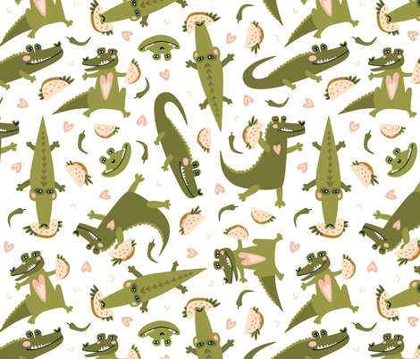 Crocodiles and tacos fabric by alenkakarabanova on Spoonflower - custom fabric