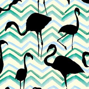 Flamingos Black Green Yellow