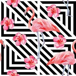 Flamingo Black white stripes flowers