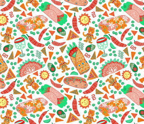 Tonatiuh Making Tacos and Burritos fabric by palifino on Spoonflower - custom fabric