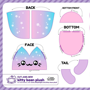 Cut & Sew Kitty Bean Plush Purple