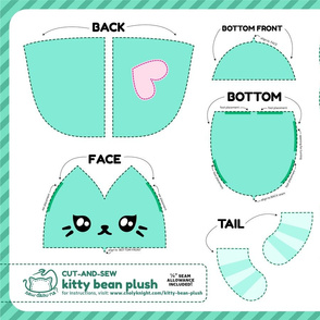 Cut & Sew Kitty Bean Plush Teal