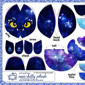 Cut & Sew Galaxy Mer-Kitty Plush Blue