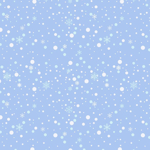 Falling snow, snowflakes background. Blue.