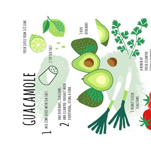 Guacamole illustrated recipe tea towel