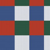 Knitting.  Plaid. Patchwork. Yarn.  Knitted wool background. Red blue green white.
