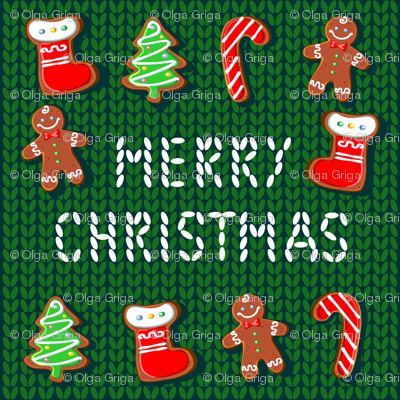 Merry Christmas. Gingerbread on a knitted background. Embroidery.