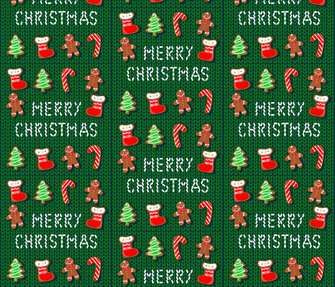 Merry Christmas. Gingerbread on a knitted background. Embroidery.  fabric by olga_griga on Spoonflower - custom fabric