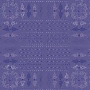 Christmas Folk Art Tree Cross Hand Drawn Purple
