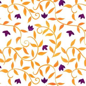 Orange Watercolor Vines