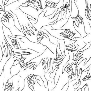 Gestural Hands in black on white