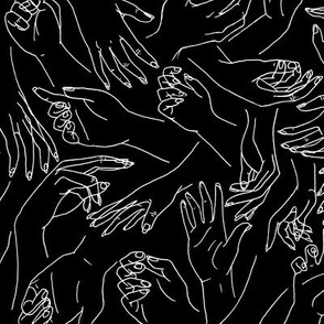 Gestural Hands in white on black