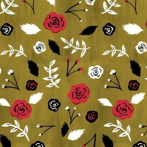 Playful Roses in gold & red
