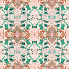 Mock Floral Blush Abstract Double Diamond Pattern