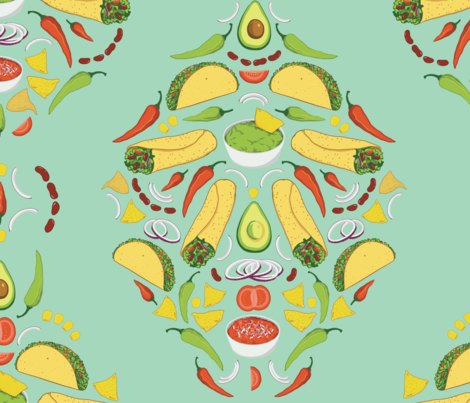 Taco Damask fabric by linn_warme on Spoonflower - custom fabric