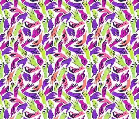 Multicolor Hands - halloween colors fabric by storylinecaroline on Spoonflower - custom fabric