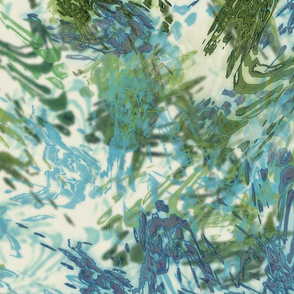 Mock Floral Blue and Green Abstract Repeat