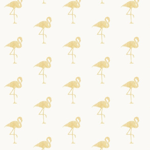 gold flamingo on cream