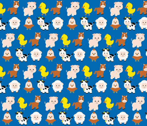 Farm Animals on Blue fabric by sunshineandspoons on Spoonflower - custom fabric