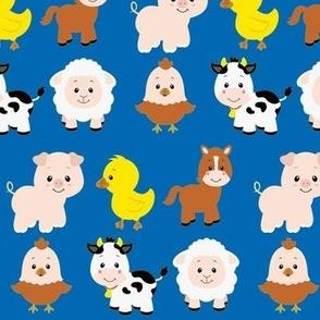Farm Animals on Blue
