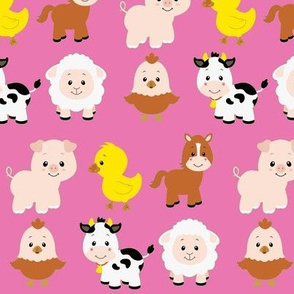 Farm Animals on Pink