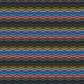 Postmark Stripes* (Black) || stripe stripes striped wave waves postmark snail mail post rainbow