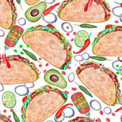 taco watercolor // taco party  on white