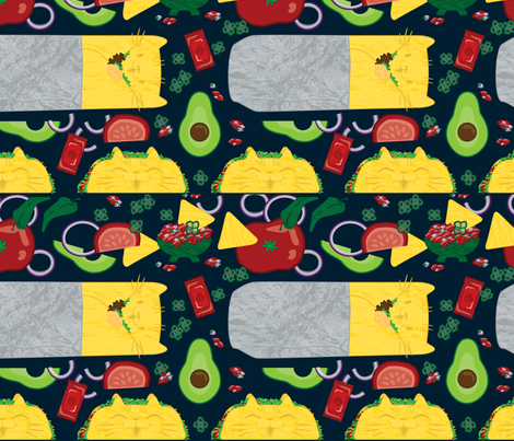 TacoCat & Purritto fabric by kittycoonundrum on Spoonflower - custom fabric