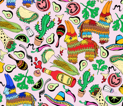 Mexican Party Food fabric by ravecave on Spoonflower - custom fabric