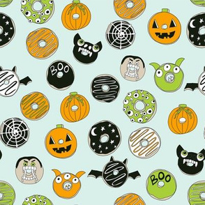 halloween donut fabric  // fall autumn food cute spooky scary halloween design by andrea lauren - mint