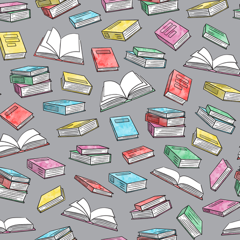 books - watercolor on grey fabric by littlearrowdesign on Spoonflower - custom fabric