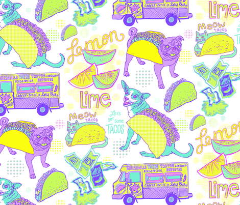 Let's Get Some Tacos! in White fabric by pinkowlet on Spoonflower - custom fabric
