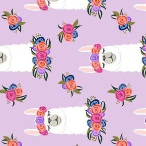floral llama - vintage on purple (90) C18BS