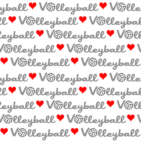 Love Volleyball fabric by vintage_style on Spoonflower - custom fabric