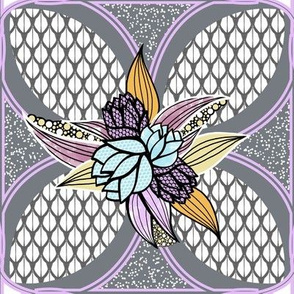 Flower Tile Quilt Squares in Purple, Aqua, Gray, Yellow