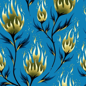 Fire Flower - Gold Blue