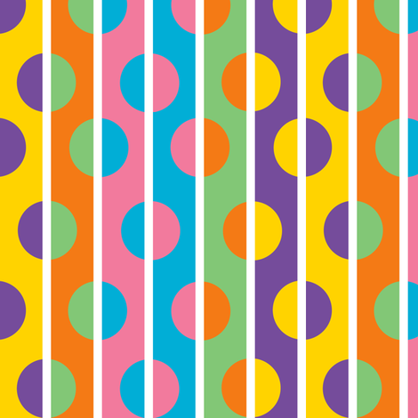 1960s Color Stripes and Polka Dots fabric by eclectic_house on Spoonflower - custom fabric
