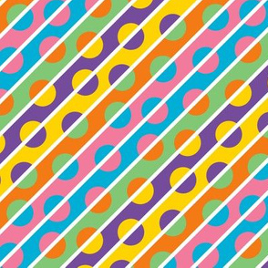 1960s Color Diagonal Stripes and Polka Dots