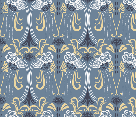 1920's Art Deco on blue grey base fabric by patternanddesign on Spoonflower - custom fabric
