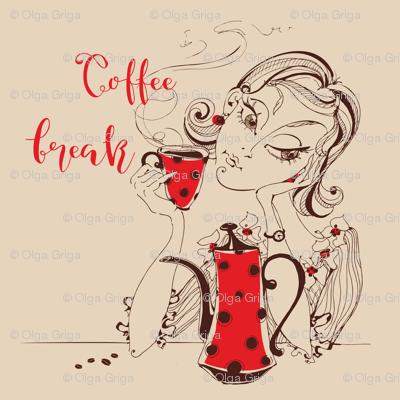 Girl drinking coffee. Coffee break inscription.
