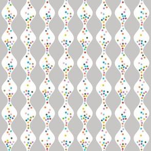 R.S.V.P.* (Silkscreen) || polka dots hourglass sand time egg timer rainbow wave waves pastel gray grey