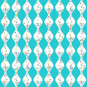 R.S.V.P.* (Television Blue) || polka dots hourglass sand time egg timer rainbow wave waves turquoise aqua