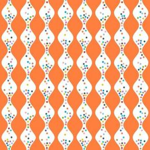R.S.V.P.* (Valencia) || polka dots hourglass sand time egg timer rainbow wave waves orange