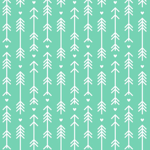 arrows and hearts sea foam green