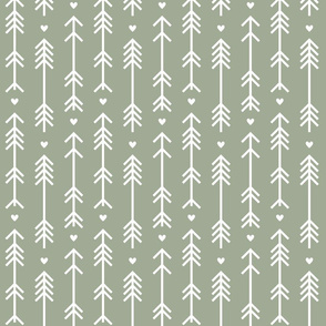 arrows and hearts sage green
