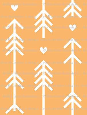 arrows and hearts mango orange
